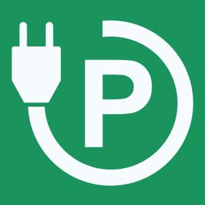 """Pixeltegel met pictogram oplaadpunt """"P"""""""